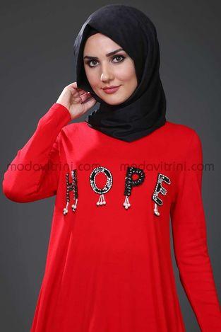 Hope Triko Tunik Kırmızı - SMF1040 - Thumbnail