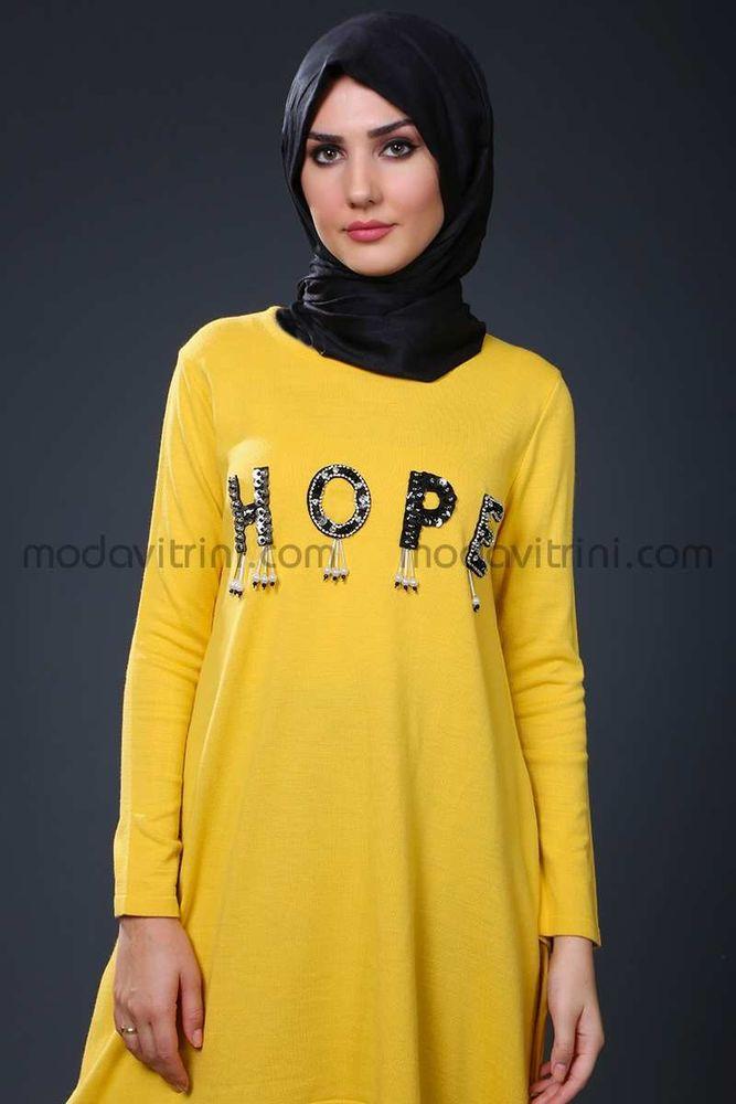 Hope Triko Tunik Sarı - SMF1040