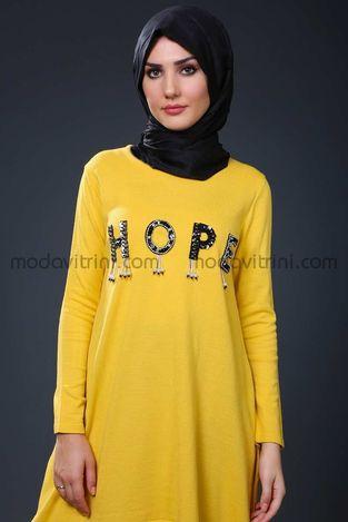 Hope Triko Tunik Sarı - SMF1040 - Thumbnail