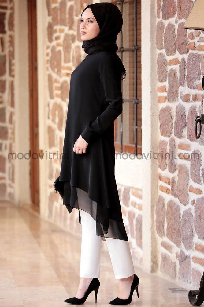 Krep & Şifon Tunik - Pantolon Takım Siyah AMN1018