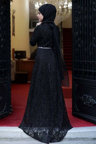 Kuyruklu Simli Dantel Abiye Siyah - MDV2002 - Thumbnail