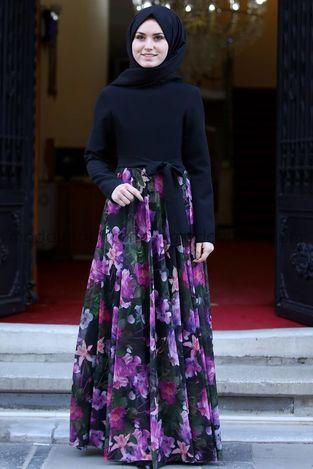 Manolya Şifon Elbise Leylak - MDV1009 - Thumbnail