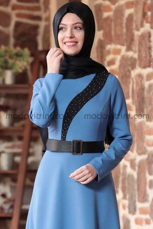Nare Elbise Bebe Mavi - SMR1005 - Thumbnail