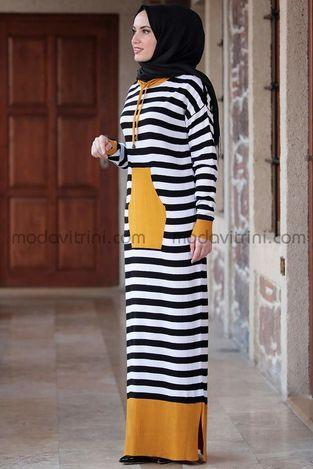 Önü Cepli Elbise Hardal - MDV5025 - Thumbnail