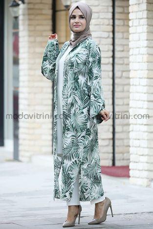 Palmiye Kimono Yeşil - MDV2028 - Thumbnail