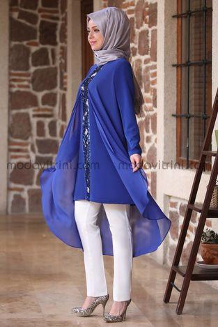 Payet Detaylı Şifon Tunik - Pantolon Takım Saks - MDV5003 - Thumbnail