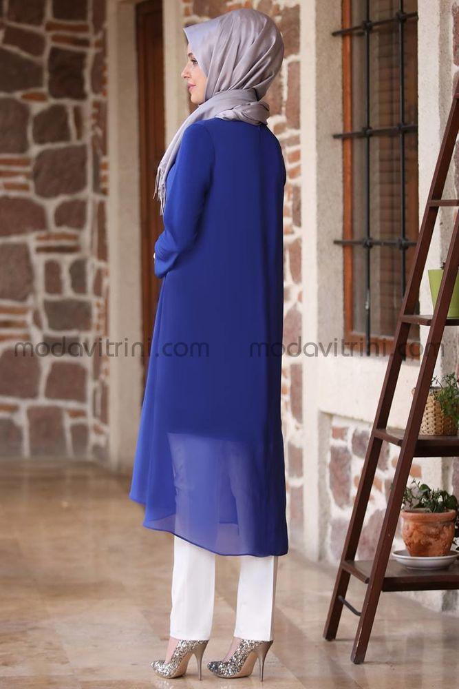 Payet Detaylı Şifon Tunik - Pantolon Takım Saks - MDV5003