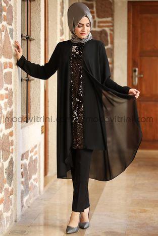 Payet Detaylı Şifon Tunik Siyah - MDV5002 - Thumbnail