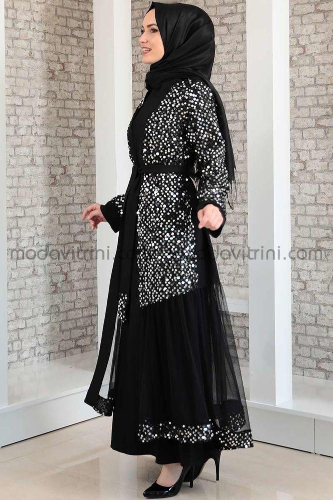 Payetli Abaya & Elbise Takım - MDV2045