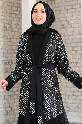 Payetli Abaya & Elbise Takım - MDV2045 - Thumbnail