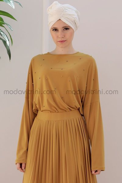 9d90aa7b6b5 Perles - Combinaisons - Robe - Couleur Moutarde - EMS1008