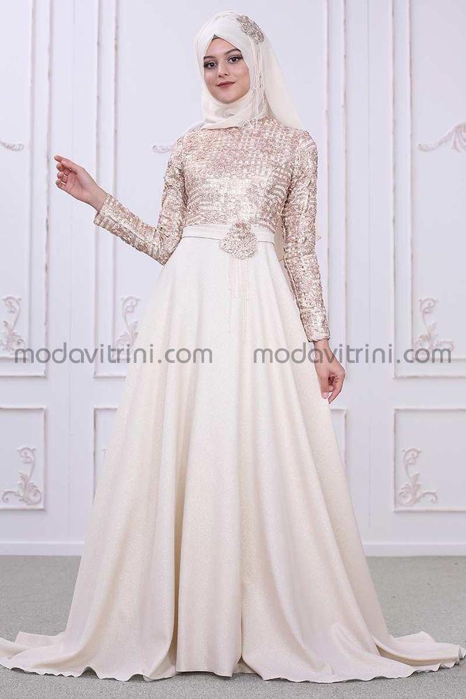 Petek Evening Dress Gold Color