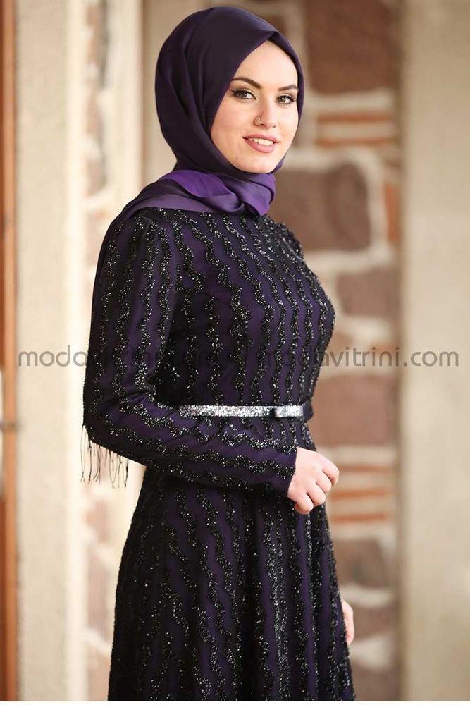 Pırlanta Abiye Elbise Mor