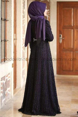 Pırlanta Abiye Elbise Mor - Thumbnail