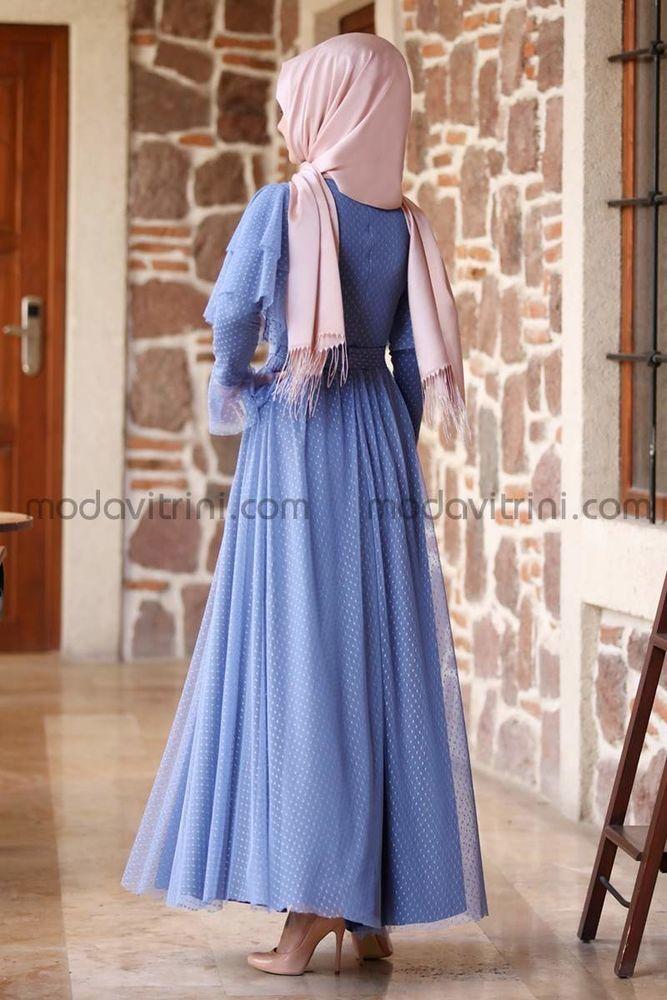 Puanlı Tül Abiye Mavi - MDV5007