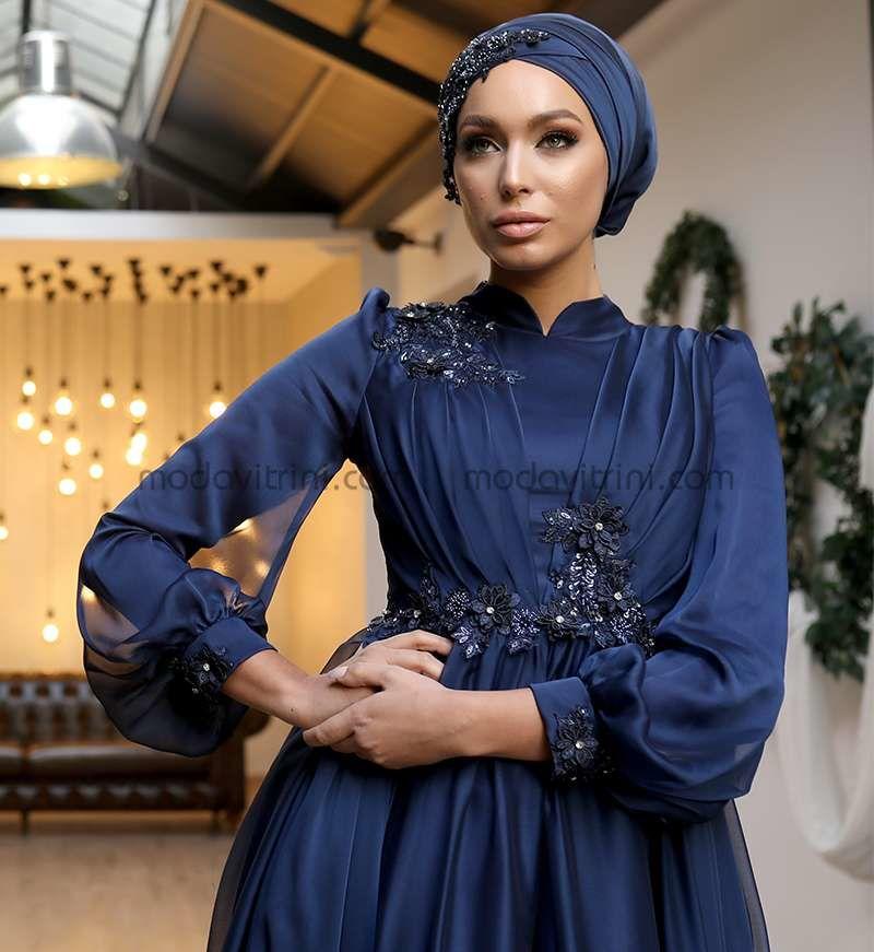 Reyyan Robe De Soiree Hijab Bleu Marine