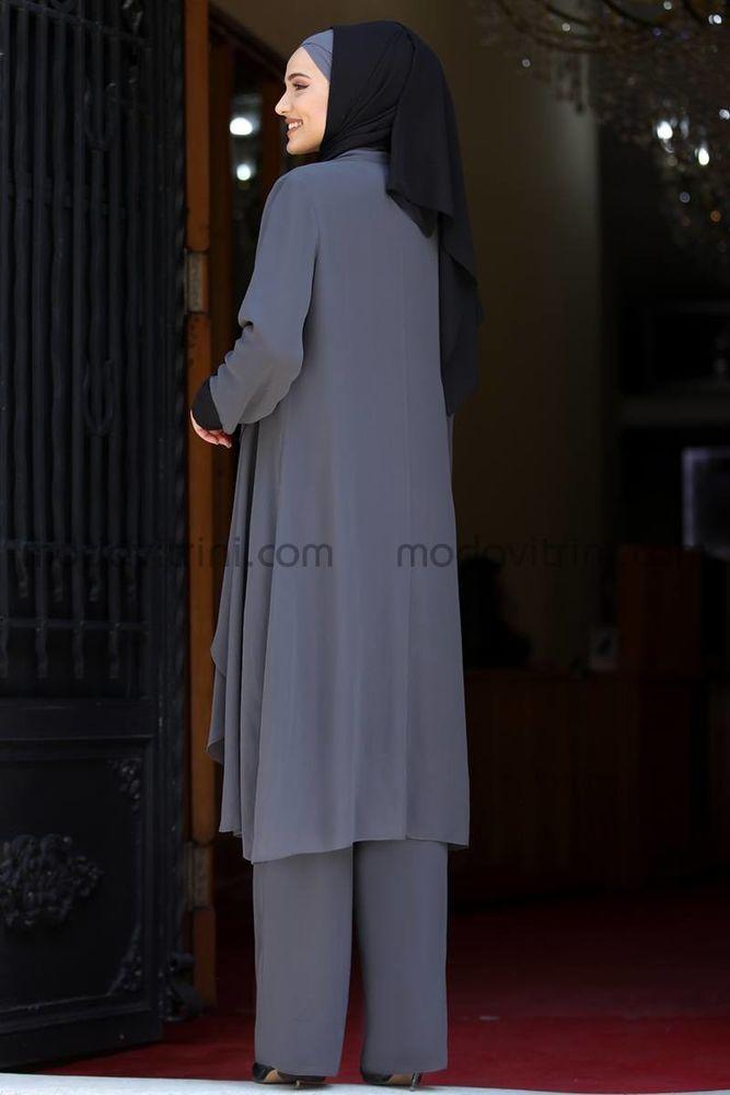 Şifon 3 Parça Takım Gri - SRK1004