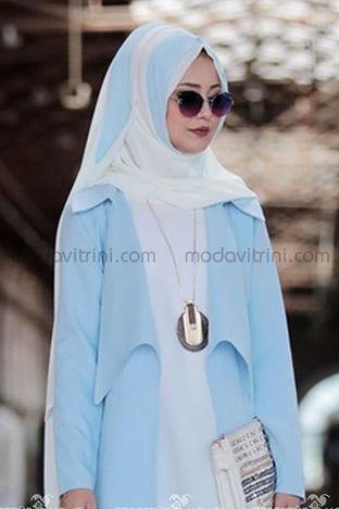 Şifon Şal Bebe Mavisi-Beyaz - AMN1087 - Thumbnail