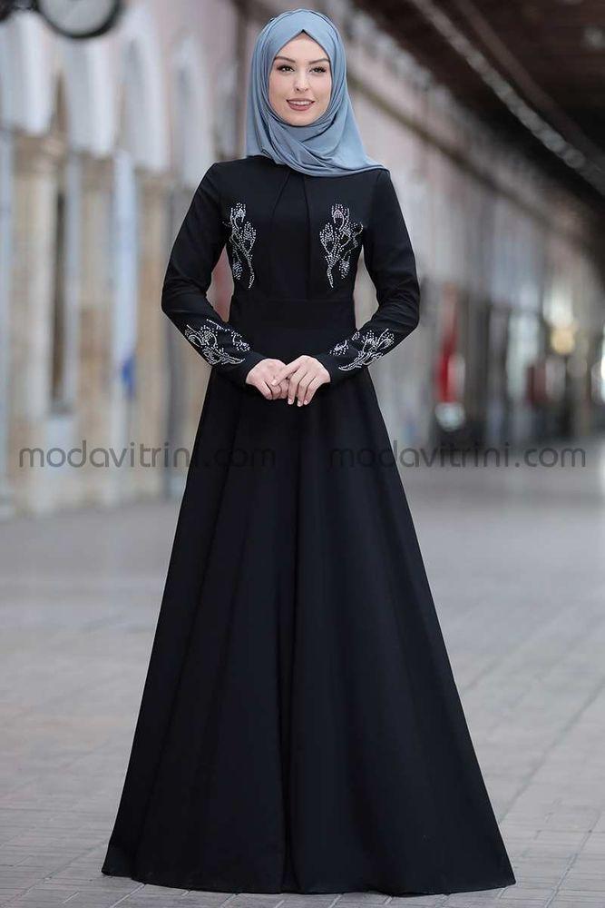 Simay Taşlı Elbise Siyah - RNZ1048