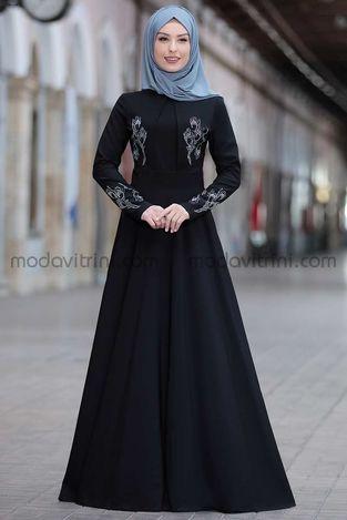 Simay Taşlı Elbise Siyah - RNZ1048 - Thumbnail