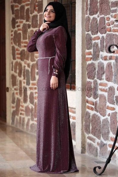 1f813502362 SMY1006 Kardelen Robe de Soirée - Prune