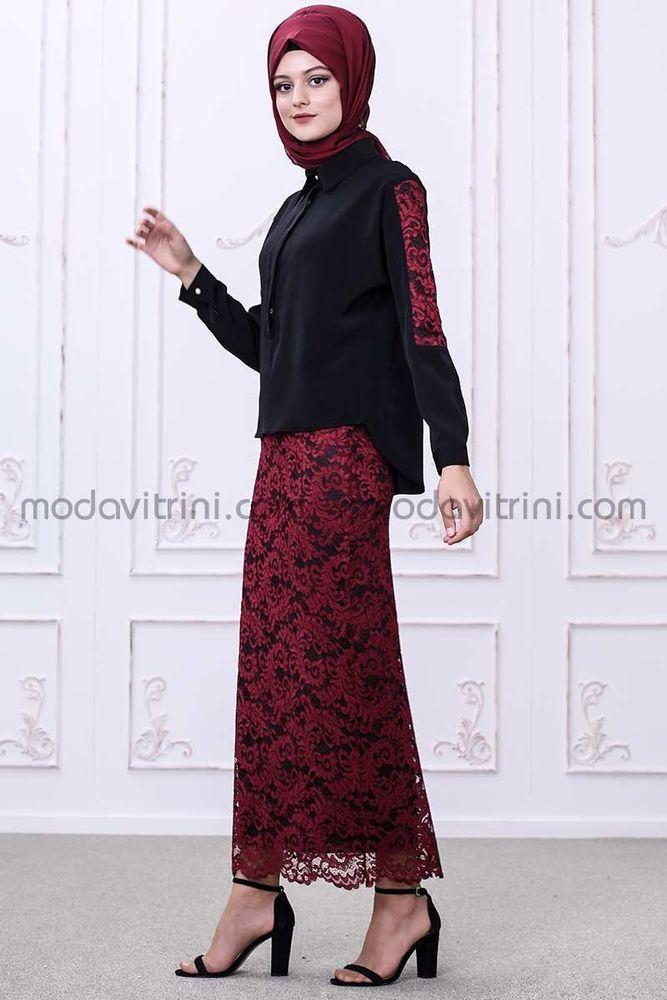 Gonca Etek - Bluz Takım Siyah-Kırmızı - SMF1033