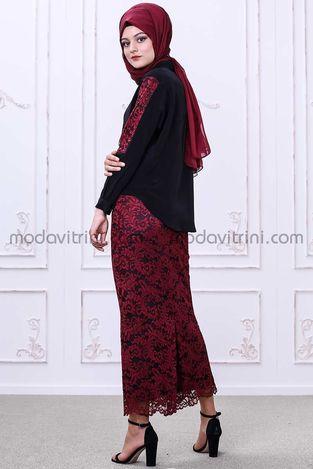 Gonca Etek - Bluz Takım Siyah-Kırmızı - SMF1033 - Thumbnail