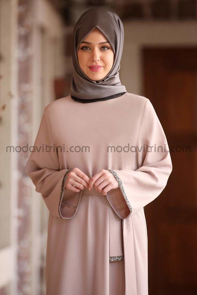 Taş Detay Elbise Bej - MDV2015
