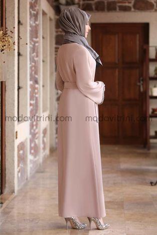 Taş Detay Elbise Bej - MDV2015 - Thumbnail