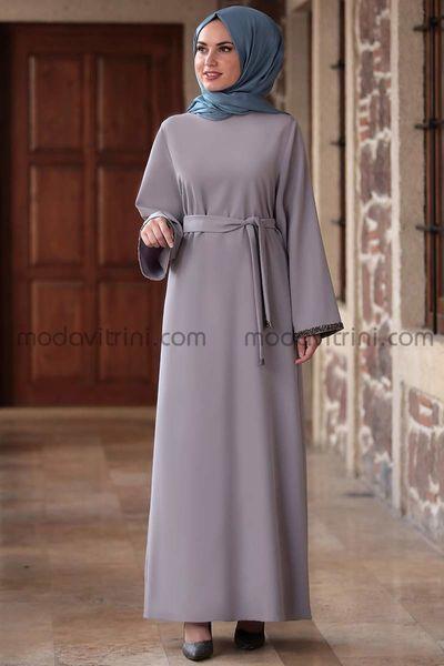 Taş Detay Elbise Gri - MDV2015