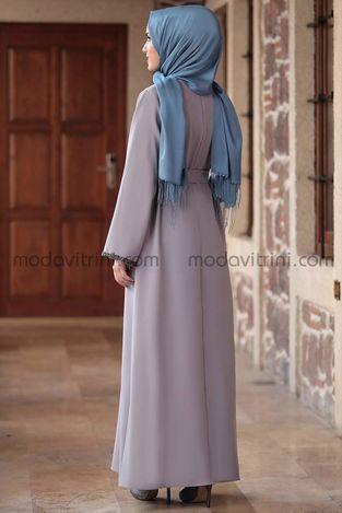 Taş Detay Elbise Gri - MDV2015 - Thumbnail