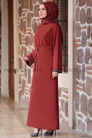 Taş Detay Elbise Kiremit - MDV2015 - Thumbnail