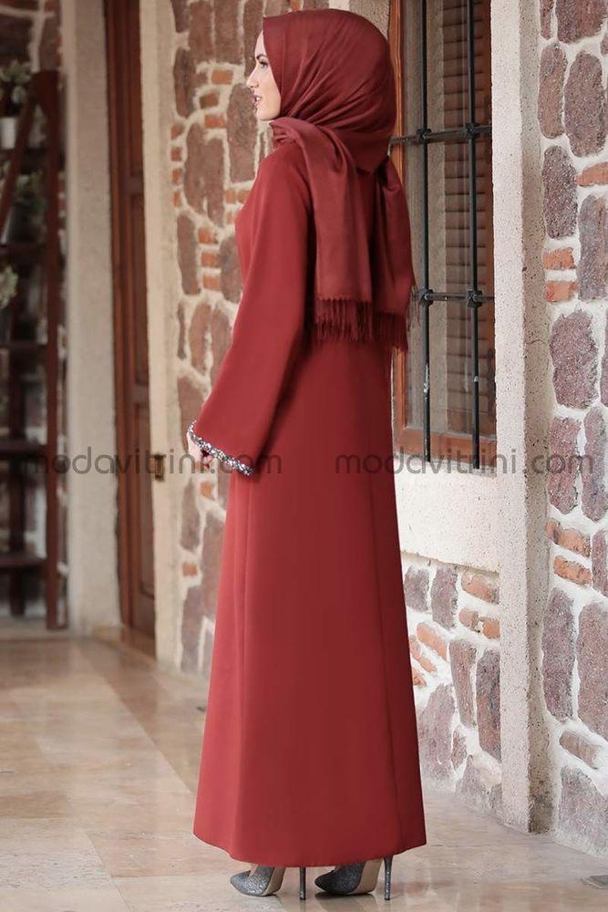 Taş Detay Elbise Kiremit - MDV2015