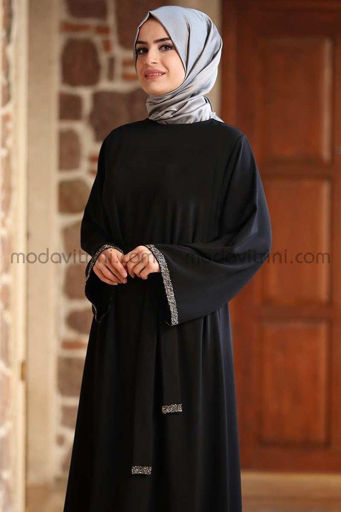 Taş Detay Elbise Siyah - MDV2015