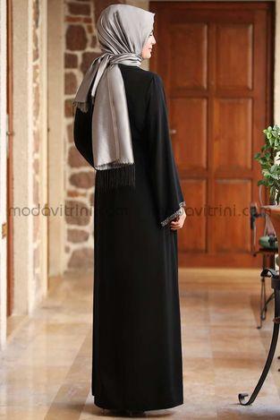 Taş Detay Elbise Siyah - MDV2015 - Thumbnail