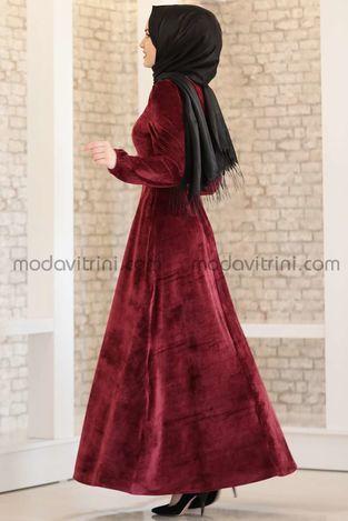 Tutku Kadife Elbise Bordo - MDV5031 - Thumbnail